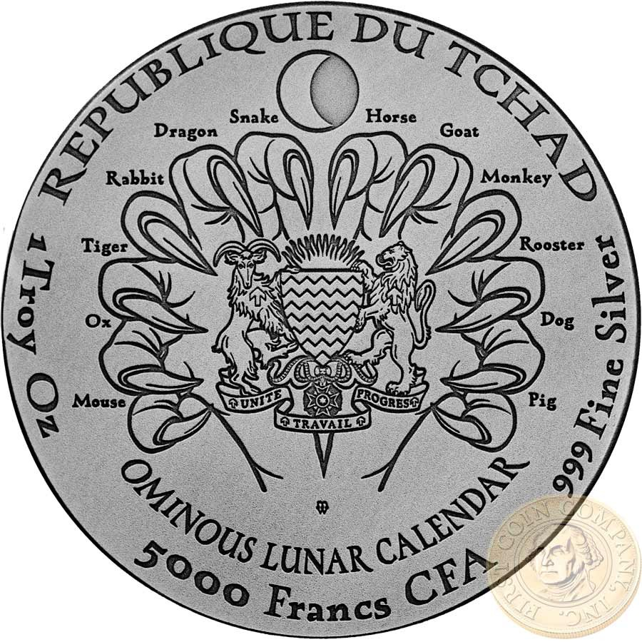 Republic of Chad YEAR OF THE DOG - Hound of Baskervilles - Sherlock Holmes Series OMINOUS LUNAR CALENDAR Silver coin 5000 Francs Antique finish 2018 Ultra high relief 1 oz