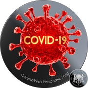 Republic of Chad PANDEMIC COVID-19 series CORONAVIRUS Silver coin 5000 Francs 3D Virus High Relief Effect 2020 Black Proof Gold plated 1 oz