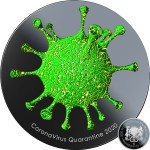Republic of Chad QUARANTINE COVID-19 series CORONAVIRUS Silver coin 5000 Francs 3D Virus Effect 2020 Black Proof Gold plated Pinnacle Relief 1 oz