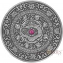 Fiji CHINESE DRAGON series MANDALA ART Silver coin $10 Antique finish 2017 Ultra High Relief Ruby stone inlay 3 oz