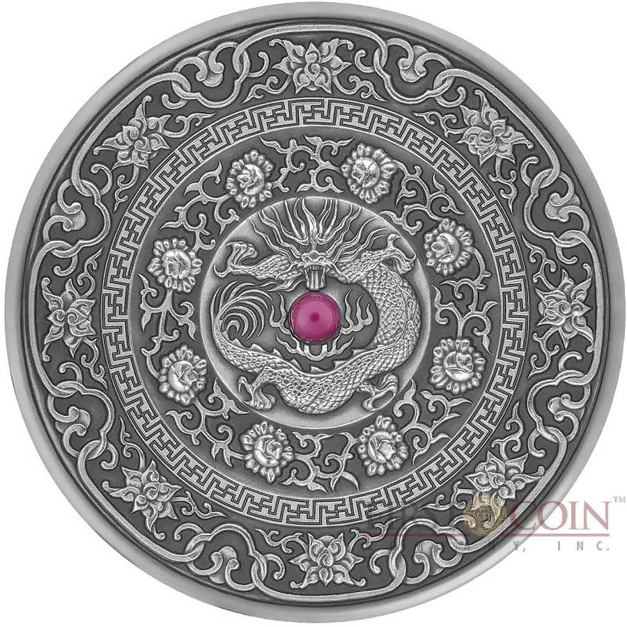 Mystic silver and company - Fiji Chinese Dragon Series Mandala Art Silver Coin 10 Antique Finish 2017 Ultra High Relief Ruby