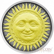 Niue Island THE SUN series CELESTIAL BODIES $5 Silver coin 2017 High Relief Antique finish Gold plated 2 oz