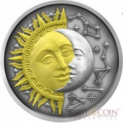 Niue Island SUN & MOON series CELESTIAL BODIES $5 Silver coin 2017 High Relief Antique finish Gold plated 2 oz