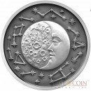 Niue Island THE MOON series CELESTIAL BODIES $5 Silver coin 2017 High Relief Antique finish 2 oz