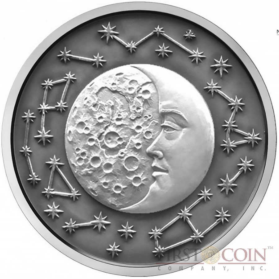 Niue Island The Moon Series Celestial Bodies 5 Silver