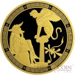 Niue Island OEDIPUS AND SPHINX series GREEK MYTHS $5 Silver coin 2016 Rhodium and Gold plated Proof 2 oz