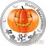 Niue Island HALLOWEEN Silver coin $2 Jack-o-Lantern 1oz Glow In The Dark Series 2014 Proof