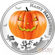 Niue Island HALLOWEEN Silver coin $2 Jack-o-Lantern 1oz Glow In The Dark Series 2014 Proof