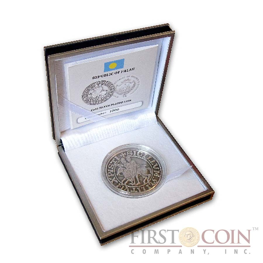 Palau Knights Templar Silver Plated Copper-Nickel coin $1 Antique Finish 2013