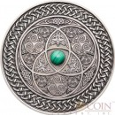Fiji CELTIC series MANDALA ART Silver coin $10 Antique finish 2016 Ultra High Relief Malachine Stone inlay 3 oz