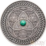 Fiji CELTIC series MANDALA ART Silver coin $10 Antique finish 2016 Ultra High Relief Malachite Stone inlay 3 oz
