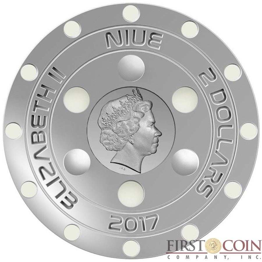 Niue Island UFO 70TH ANNIVERSARY OF ROSWELL INCIDENT $2 Silver coin 2017 Glow In The Dark UFO Concave Convex shaped 7mm relief 1.3 oz