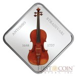 Niue Violin Lady Blunt Stradivarius by Antonio Stradivari 1644-1737 Silver coin $1 Wooden 3D inlay 2014 Proof Square 1 oz