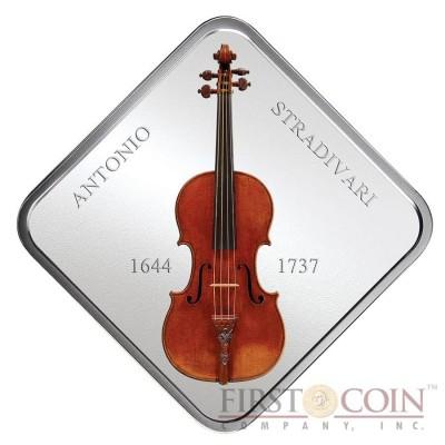 Niue Violin Lady Blunt Stradivarius by Antonio Stradivari 1644-1737 Silver coin $1 Wooden 3D inlay 2014 Proof Square 1 oz