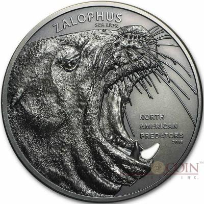 Cook Islands SEA LION series NORTH AMERICAN PREDATORS Silver coin 2016 Antique finish High relief 2 oz