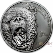 Cook Islands GRIZZLY BEAR series NORTH AMERICAN PREDATORS Silver coin 2017 Antique finish High relief 2 oz