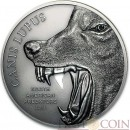 Cook Islands GRAY WOLF CANIS LUPUS series NORTH AMERICAN PREDATORS Silver coin 2015 Antique finish High relief 2 oz
