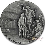 Niue Island THE BAPTISM OF JESUS series BIBLICAL Silver coin $2 High relief 2017 Antique finish 2 oz
