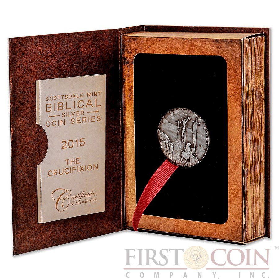 Niue Island CRUCIFIXION series BIBLICAL Silver coin $2 High relief 2015 Antique finish 2 oz