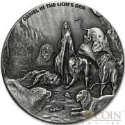 Niue Island DANIEL IN THE LION'S series BIBLICAL Silver coin $2 High relief 2016 Antique finish 2 oz