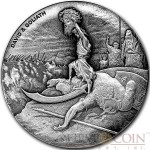 Niue Island DAVID & GOLIATH series BIBLICAL Silver coin $2 High relief 2015 Antique finish 2 oz
