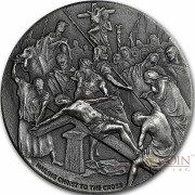 Niue Island NAILING CHRIST TO CROSS series BIBLICAL Silver coin $2 High relief 2017 Antique finish 2 oz
