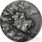 Niue Island PALE HORSE series BIBLICAL Silver coin $2 High relief 2015 Antique finish 2 oz