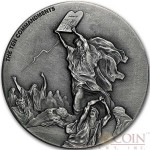 Niue Island TEN COMMANDMENTS series BIBLICAL Silver coin $2 High relief 2015 Antique finish 2 oz