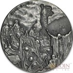 Niue Island VALLEY OF DRY BONES EZEKIEL'S VISION series BIBLICAL Silver coin $2 High relief 2016 Antique finish 2 oz