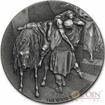 Niue Island THE GOOD SAMARITAN series BIBLICAL Silver coin $2 High relief 2016 Antique finish 2 oz