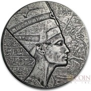 Republic of Chad NEFERTITI series EGYPTIAN RELIC Silver coin 3000 Francs 2017 Antique finish ULTRA THICK 5 oz