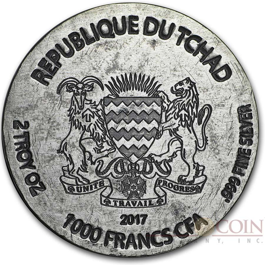 Republic of Chad RAMESSES II AFTER LIFE series EGYPTIAN RELIC Silver coin 1000 Francs 2017 Antique finish 2 oz