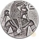 Republic of Chad KING TUTANKHAMUN series EGYPTIAN RELIC Silver coin 3000 Francs 2016 Antique finish ULTRA THICK 5 oz