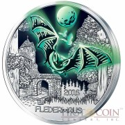 Austria BAT FLEDERMAUS Series COLOURFUL CREATURES €3 Euro Cupro Nickel coin Glow In The Dark 2016
