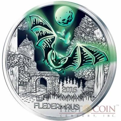 Austria BAT FLEDERMAUS Series COLOURFUL CREATURES €3 Euro Cupro Nickel coin Glow In The Dark 2016