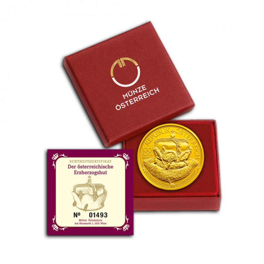 Austria ARCHDUCAL CROWN OF AUSTRIA series Crowns of the House of Habsburg's €100 Euro Gold Coin Proof 2009