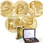 Austria Series KLIMT AND HIS WOMEN Five Gold Coin Set €250 Euro Proof 2012-2016