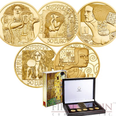 Austria Series KLIMT AND HIS WOMEN Five Gold Coin Set €250 Euro Proof 2012-2016
