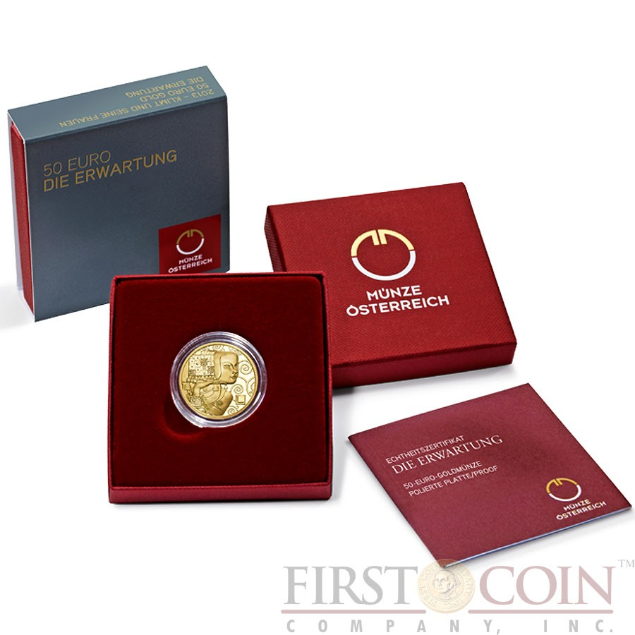 Austria EXPECTATION by GUSTAV KLIMT series KLIMT AND HIS WOMEN Gold coin €50 Euro Proof 2013