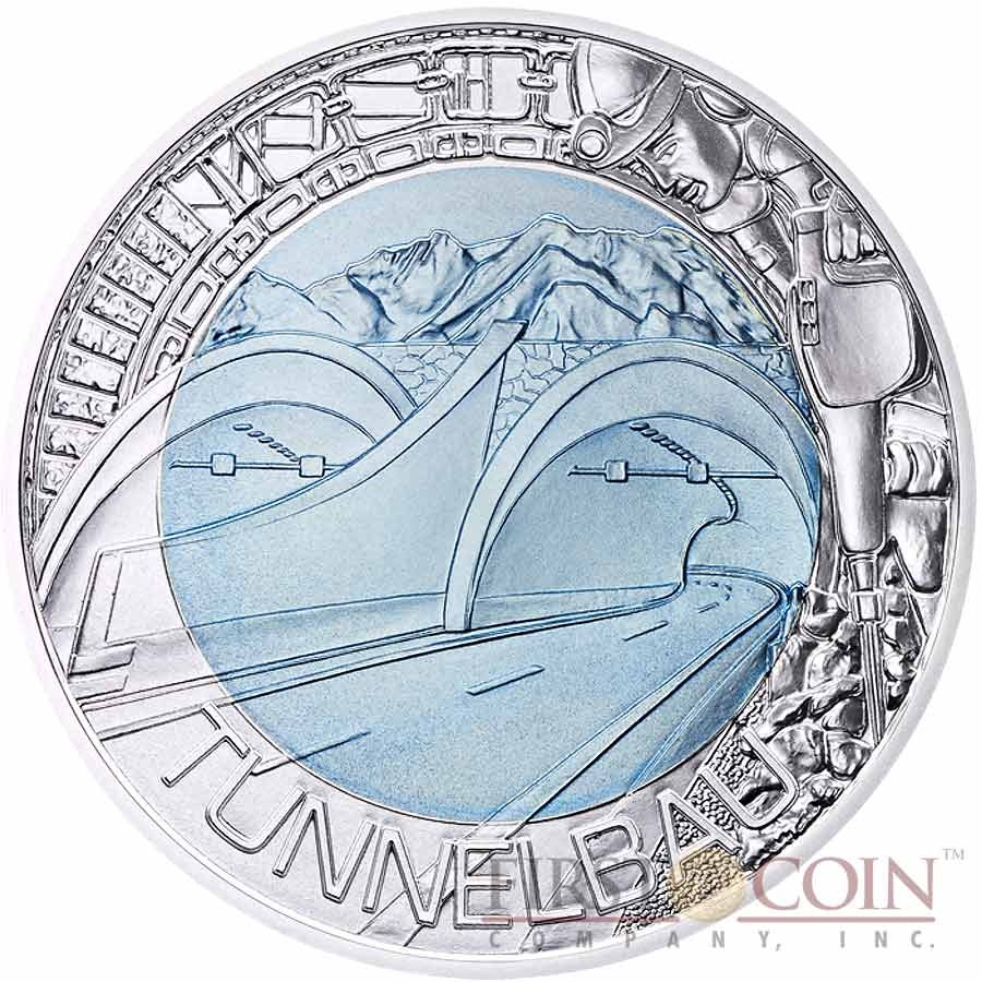 Austria TUNNEL CONSTRUCTION series Silver-Niobium coin 25 Euro 2013