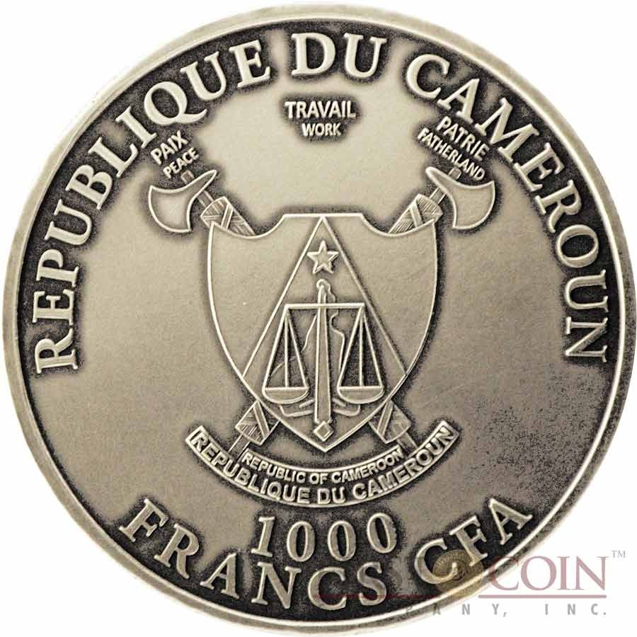 """Cameroon Leopard """"African Big Five"""" series High Relief Colored Silver coin 1,000 Francs 1 oz Antique Finish 2013"""