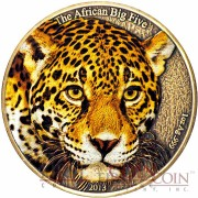 "Cameroon Leopard ""African Big Five"" series High Relief Colored Silver coin 1,000 Francs 1 oz Antique Finish 2013"