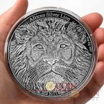 Congo African Silver Lion 5000 Francs Silver coin 4 oz Antique finish High Relief 2013