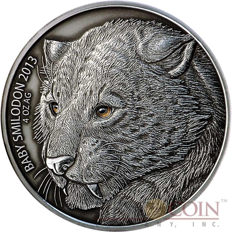 Burkina Faso Baby SMILODON Saber Toothed Tiger 5,000 Francs CFA Prehistoric Animals series Real Eyes High Relief Silver coin 4 oz Antique Finish 2013