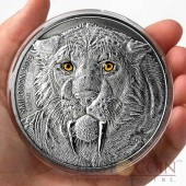Burkina Faso Mama SMILODON Saber Toothed Tiger 5,000 Francs CFA Prehistoric Animals series Real Eyes High Relief Silver coin 4 oz Antique Finish 2013