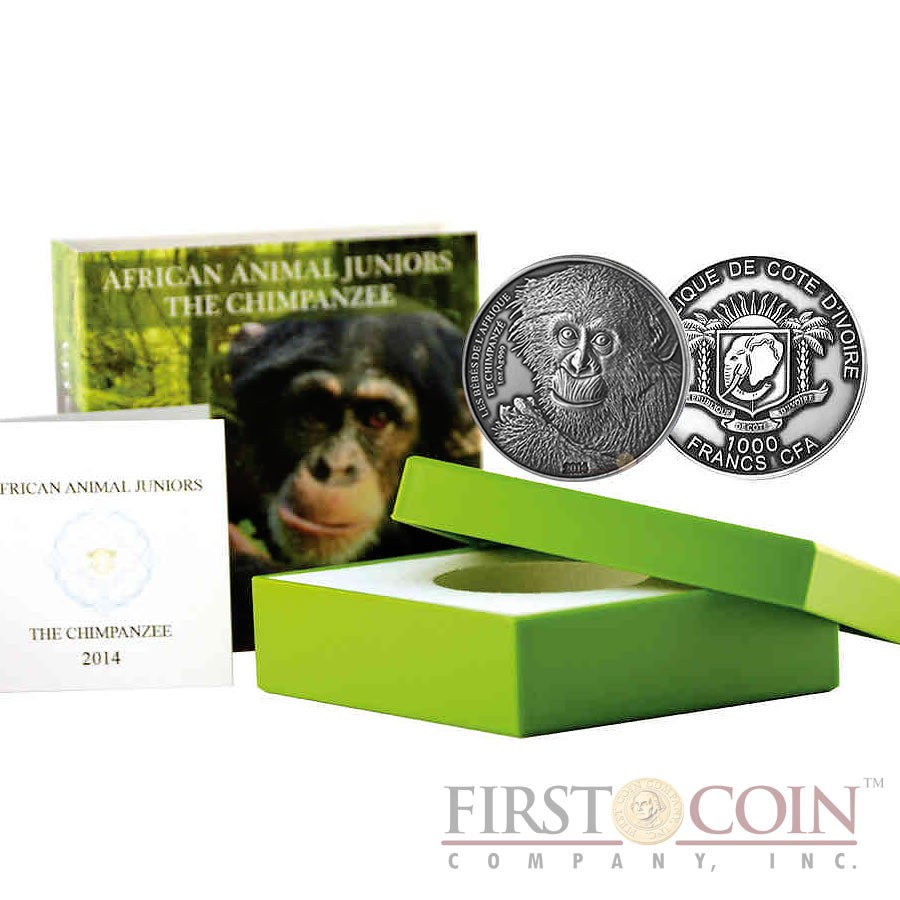 Ivory Coast The Chimpanzee 1,000 Francs African Animal Juniors series Silver coin 1 oz Ultra High Relief Handmade Antique Finish 2014