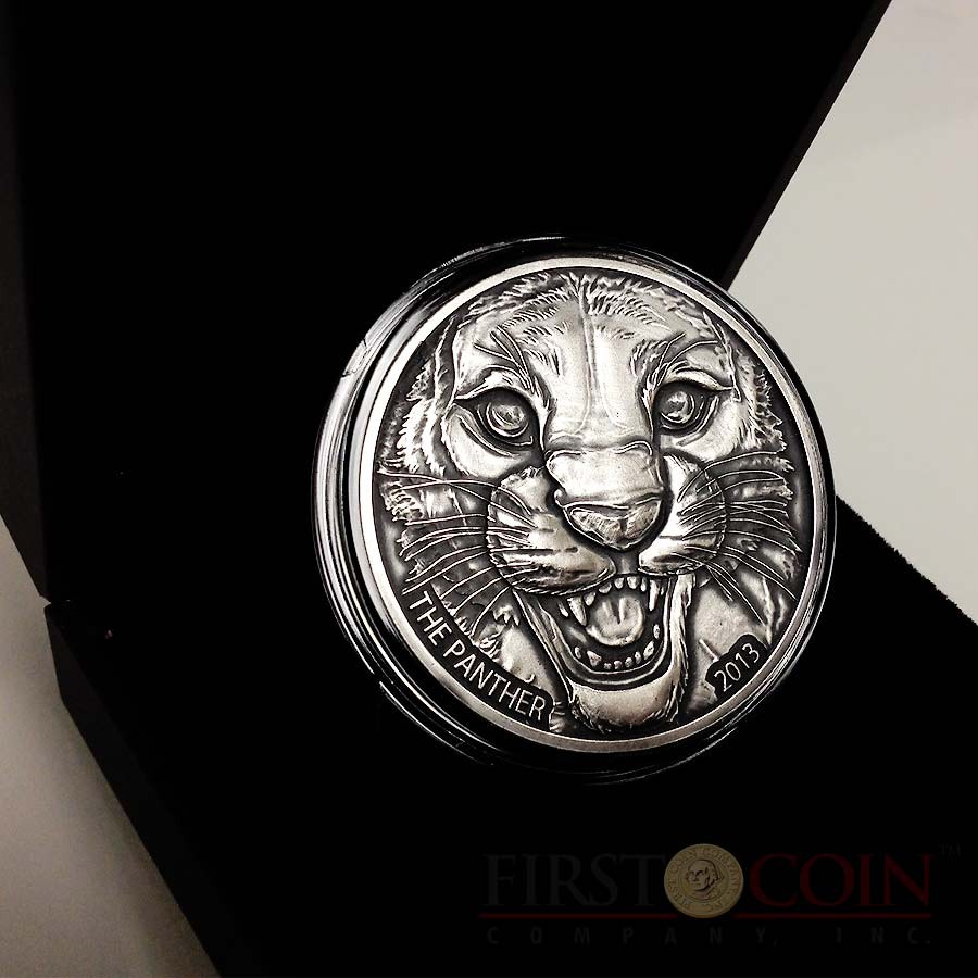 Ivory Coast The Black Panther 1,000 Francs Silver coin 1 oz Ultra High Relief Antique Finish 2013