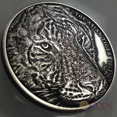 Tokelau Asian Tiger High Relief $1 Silver coin 1 oz Antique Finish 2013