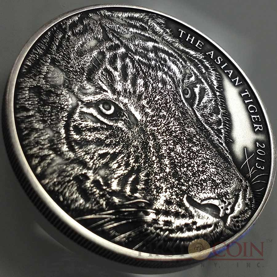 Tokelau Asian Tiger High Relief $5 Silver coin 5 oz Antique Finish 2013