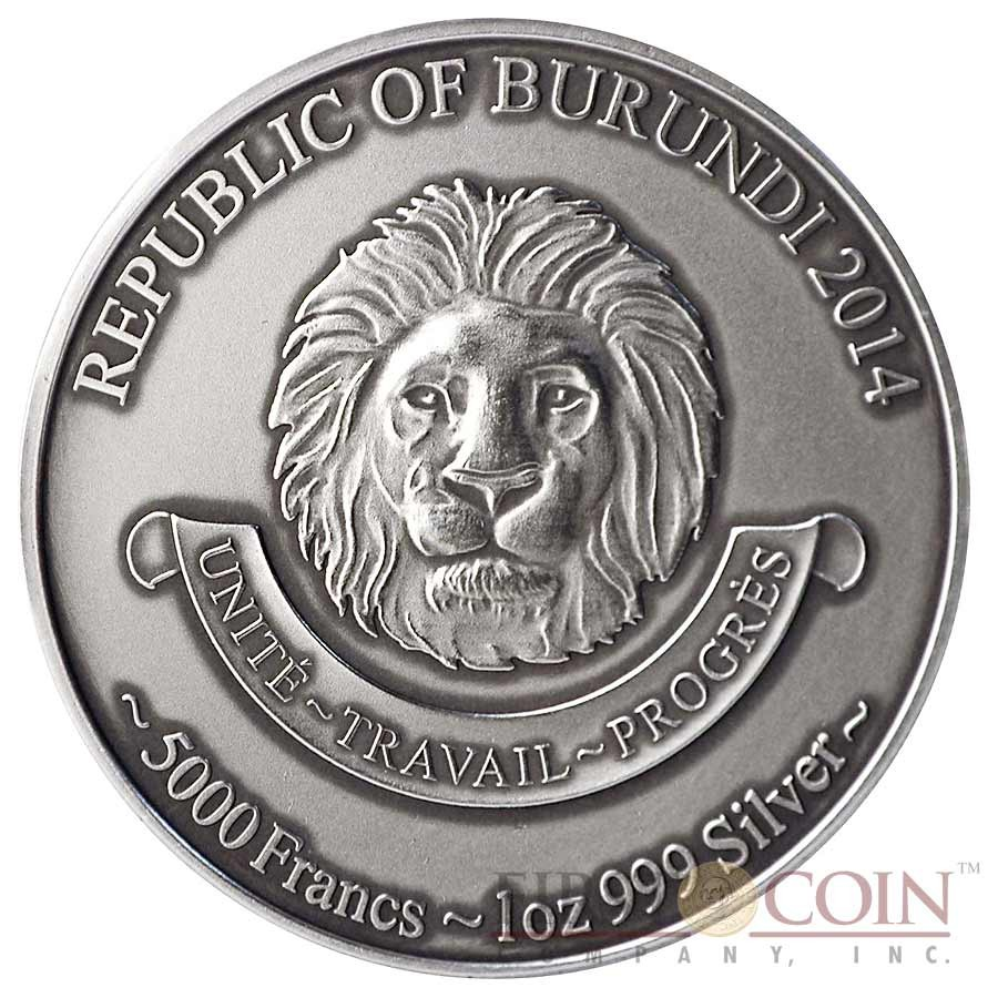 """Burundi Baby Leopard """"African Baby Big Five"""" series High Relief Silver coin 5,000 Francs 1 oz Antique Finish 2014"""